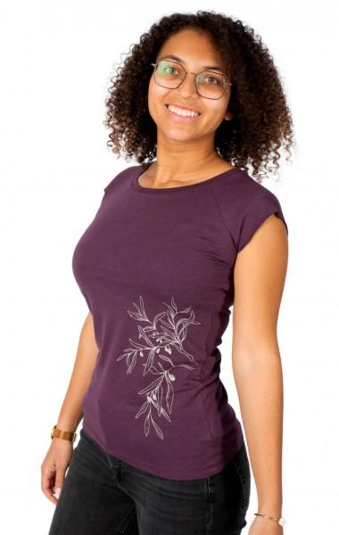 Fairwear Bambus Shirt Women Eggplant Olive Branch