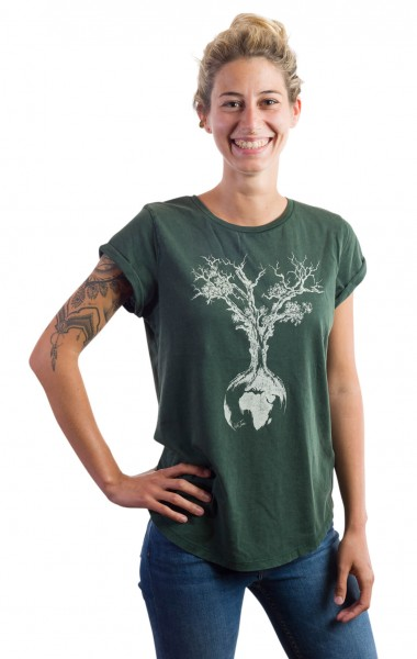 Fairwear Organic Shirt Women Stone Washed Green Weltenbaum