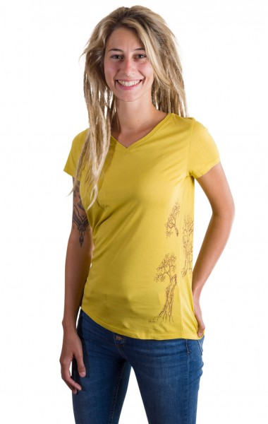 Fairwear Organic V-Neck Shirt Mustard Yellow Growing Up