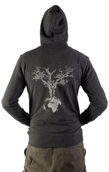 Fairwear Organic Hoodie Zipper Unisex Weltenbaum Heather Grey