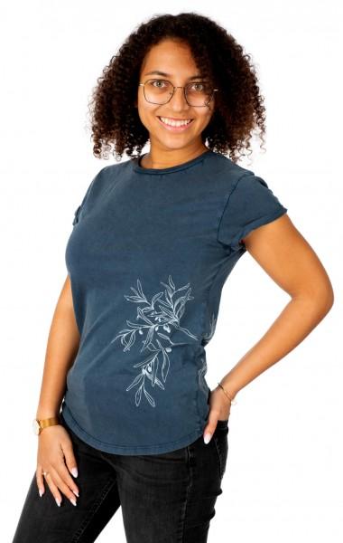 Fairwear Organic Shirt Women Stone Washed Blue Olive Branch