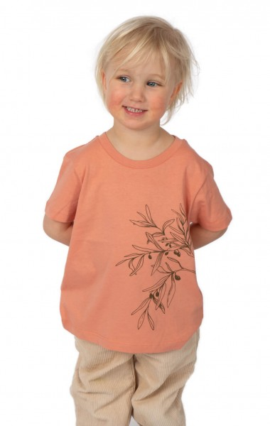 Fairwear Organic Shirt Kids Rose Clay Olive Branch