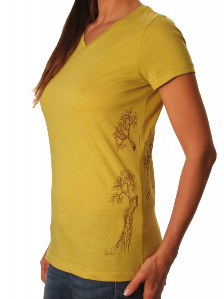 Fairwear Organic V-Neck Shirt Mustard Yellow Growing Up