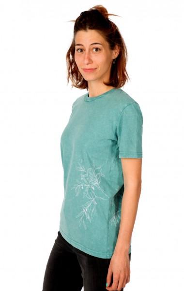 Fairwear Organic Shirt Unisex Teal Monstera Blue Olive Branch