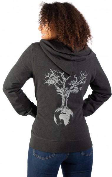 Fairwear Organic Zipper Hoodie Unisex Weltenbaum Heather Grey