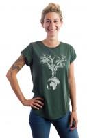 Fairwear Organic Shirt Women Stone Washed Green Weltenbaum