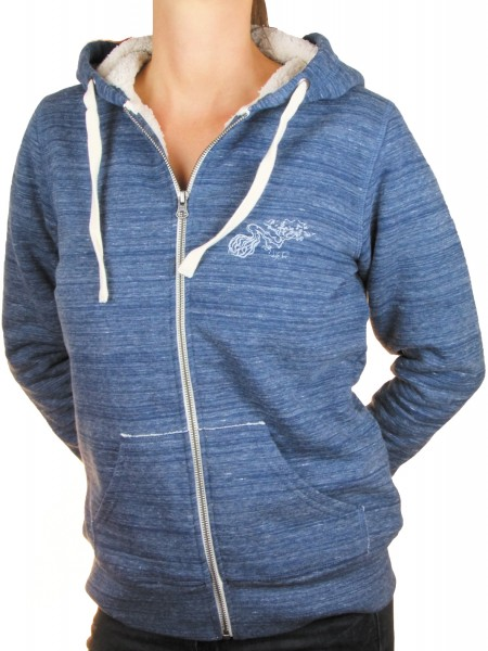Fairwear Organic Zipper Sherpa Hoodie Women Heather Blue
