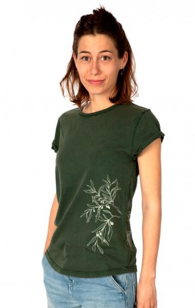 Fairwear Organic Shirt Women Green Olive Branch