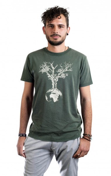 Fairwear Organic Shirt Men Stone Washed Green Weltenbaum