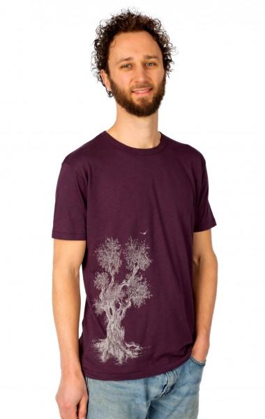 Fairwear Bambus Shirt Men Eggplant Olive Tree